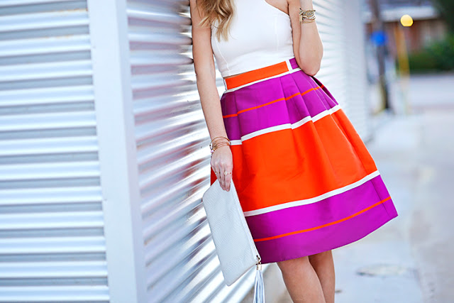 purple and red midi skirt