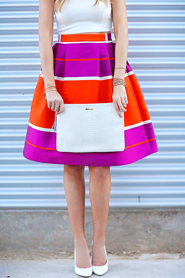 summer brights with white heels