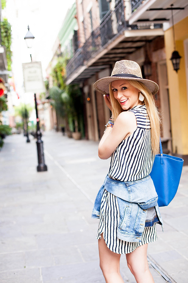 wearing denim and stripes