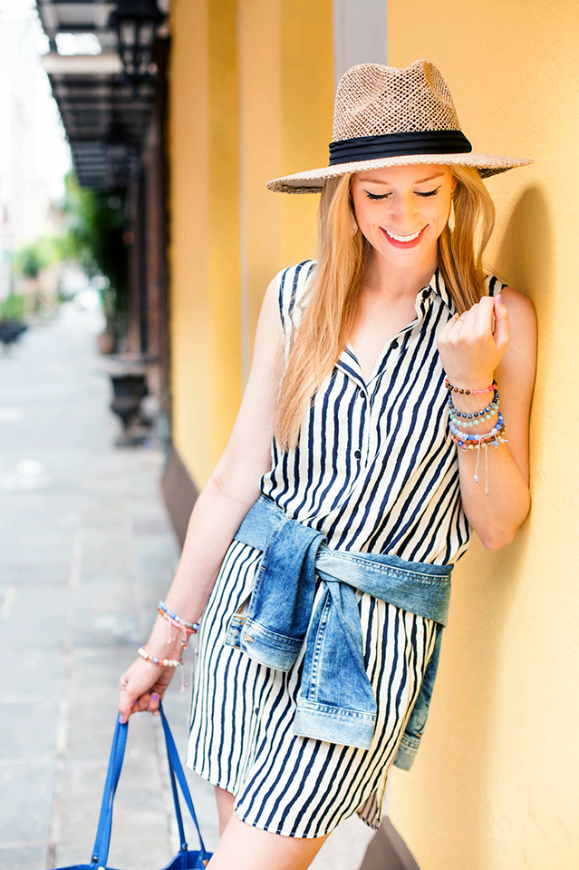 striped shirtdress for summer travels
