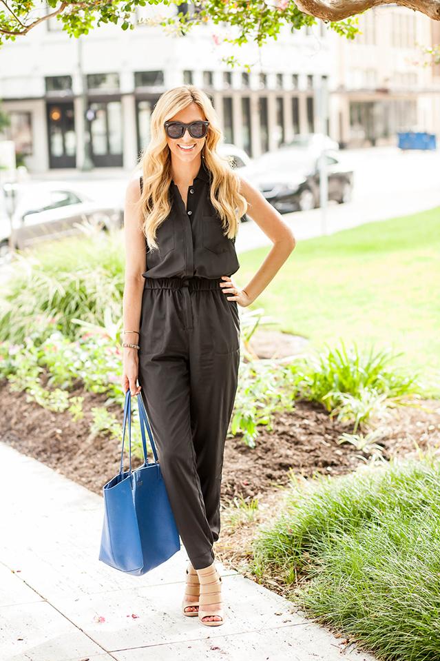 sleeveless black pantsuit