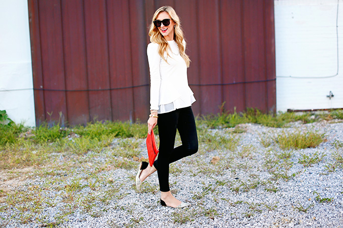 white long-sleeve top for fall