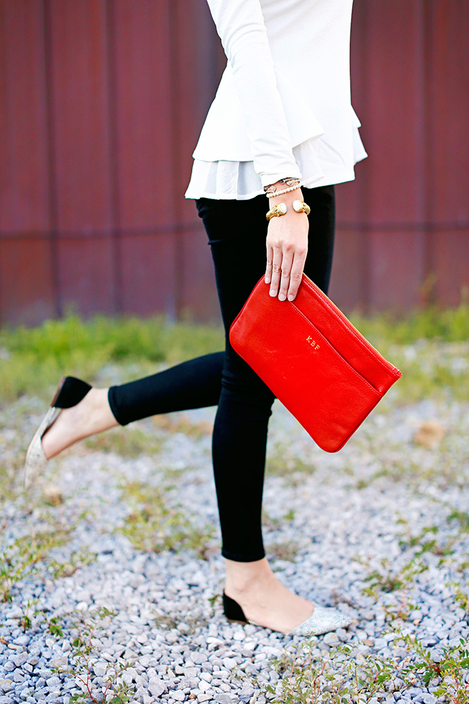 white tiered long-sleeve top