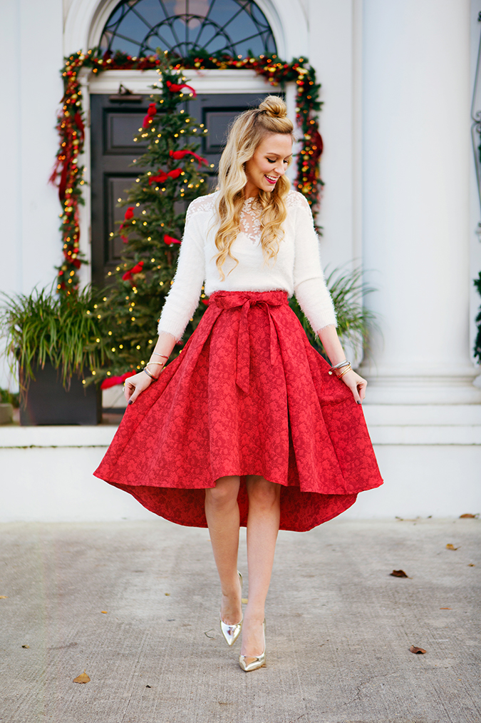 this red chicwish skirt is party perfect for every holiday event - Merry Christmas Wishes!