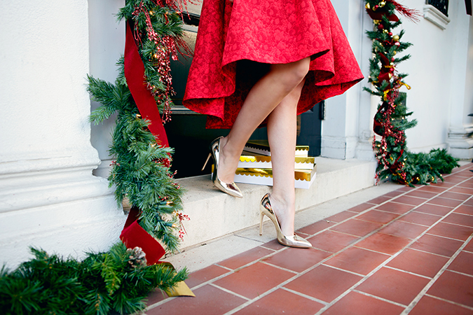 red midi skirt and metallic pumps for christmas
