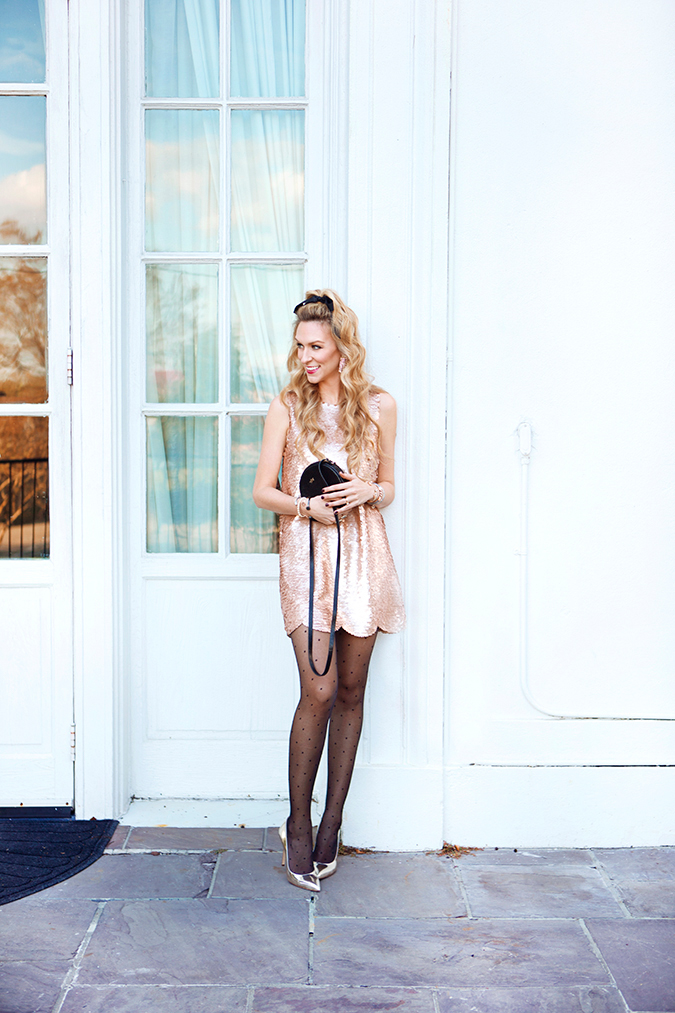 blush sequin holiday dress
