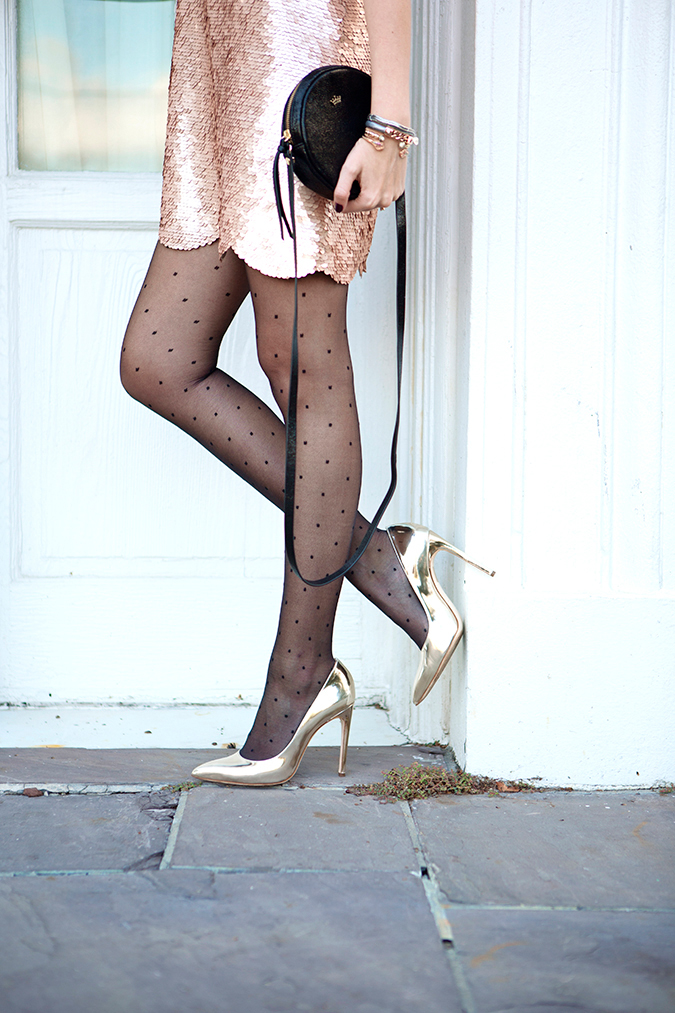 polka dot tights and metallic heels