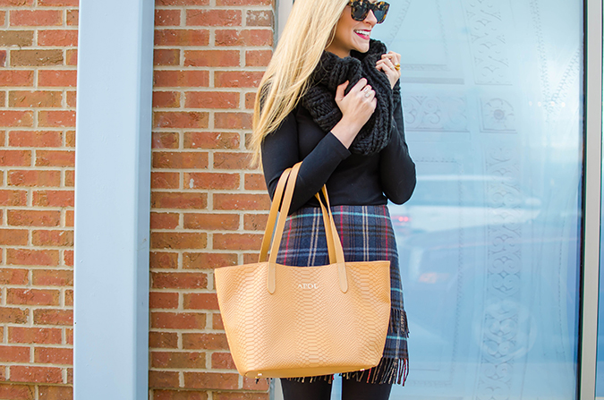 a cute way to wear tights and a turtleneck for winter