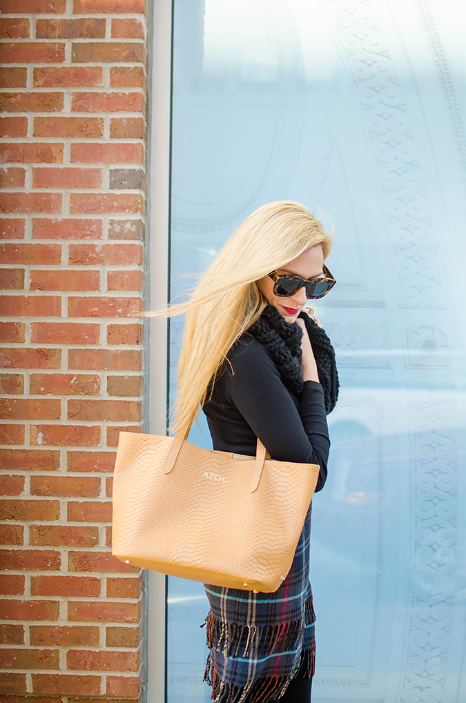 personalized leather handbag in camel
