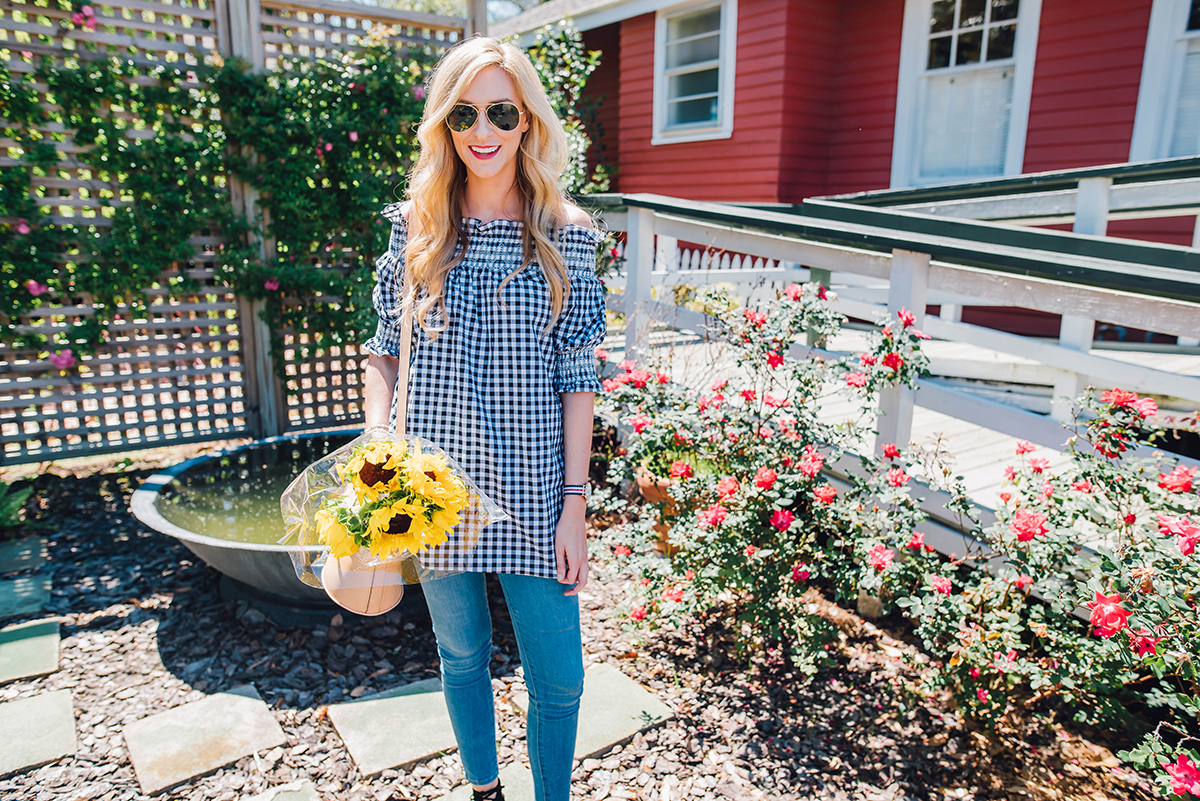 chicwish gingham top / off the shoulder top under $50
