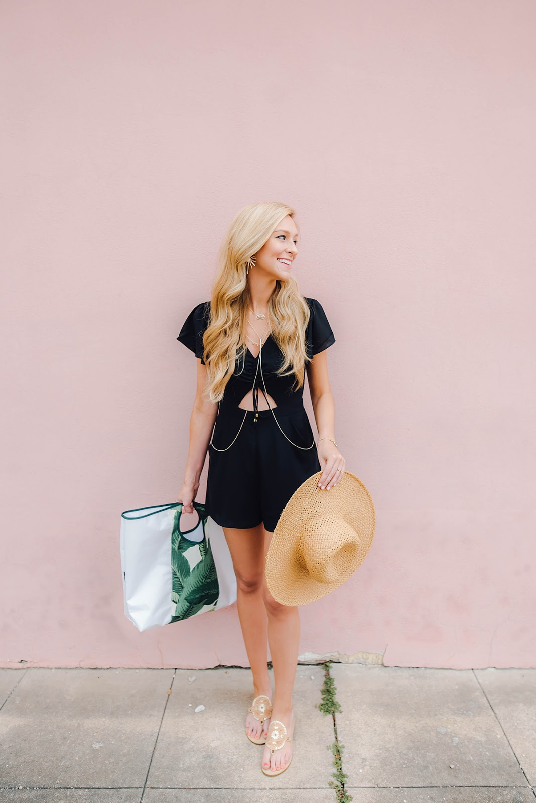 vacation outfit inspiration / black romper, Jack Rogers Georgica sandals, palm print beach bag