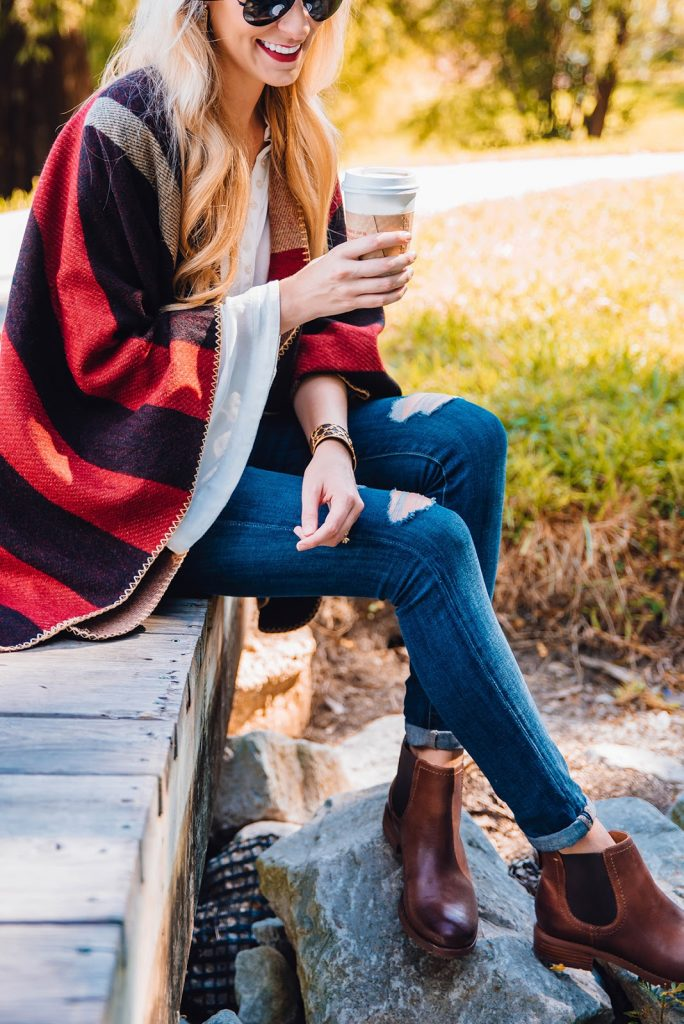 red plaid poncho cape option under $50