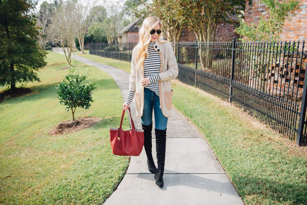 easy and chic fall layering ideas / oversized cardigan and OTK boots