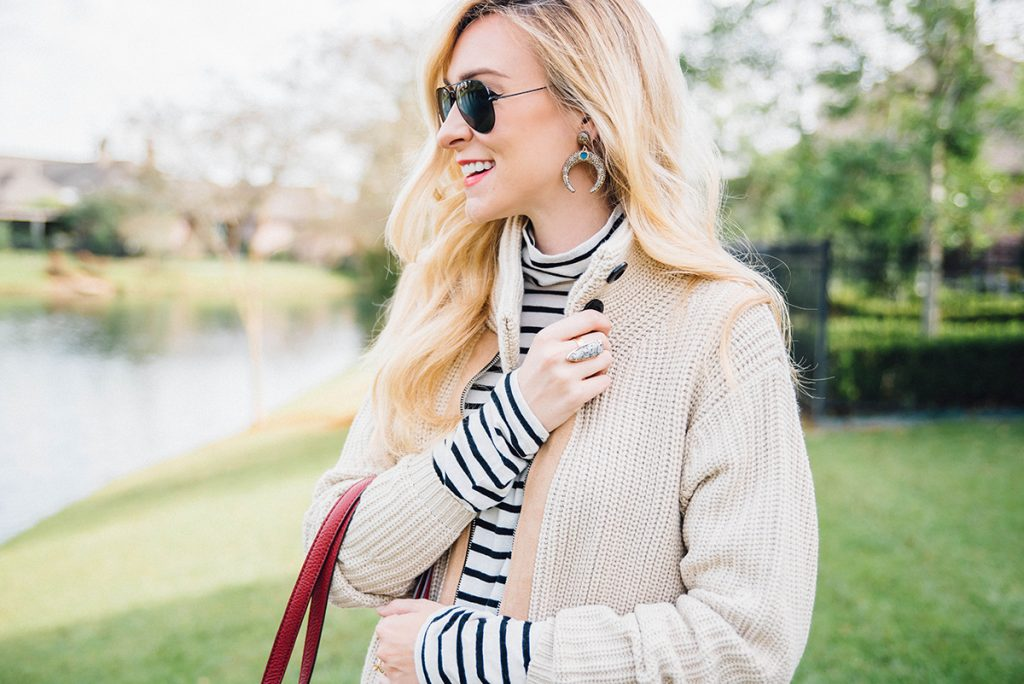 layering stripes with a chunky knit cardigan