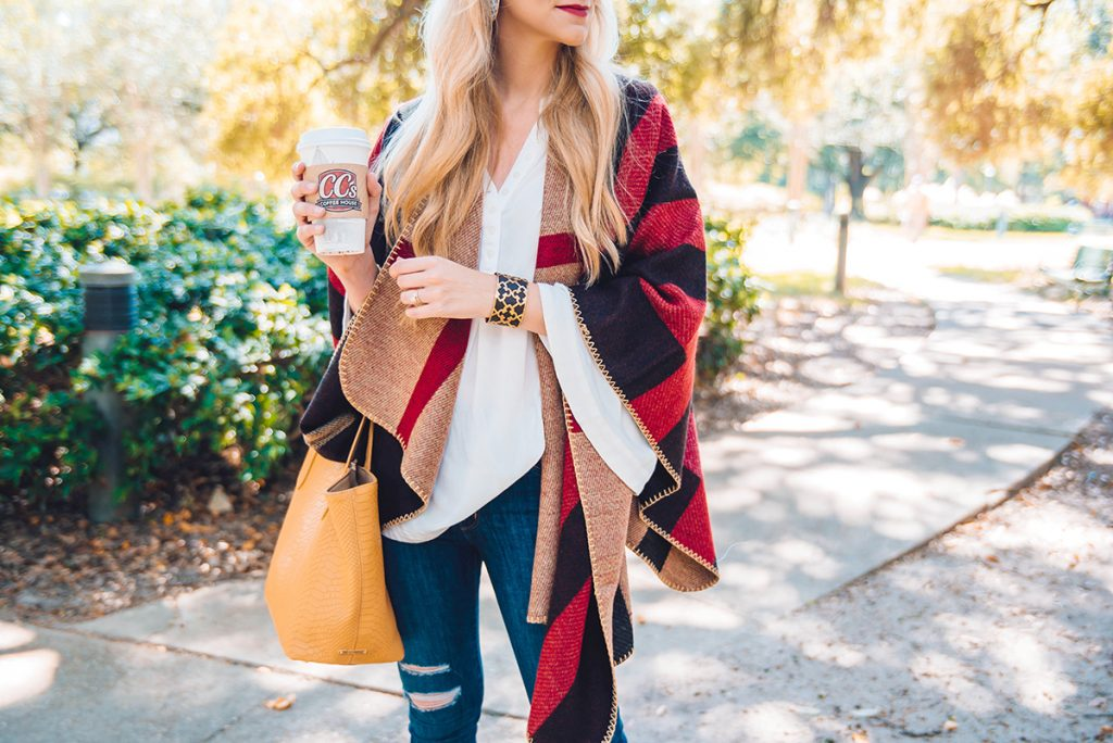 red plaid cape poncho for under $50
