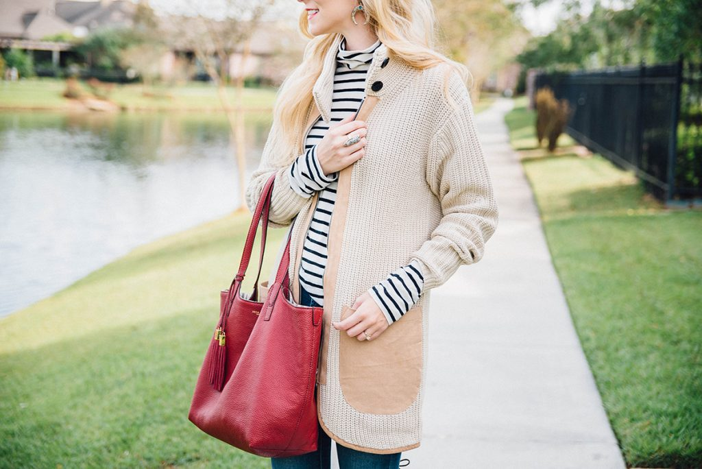 fall layering with stripes and an oversized cardigan