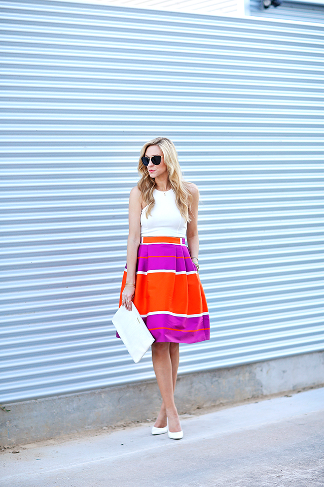midi skirt and crop top summer outfit