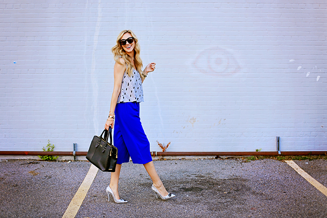 cobalt culottes for fall