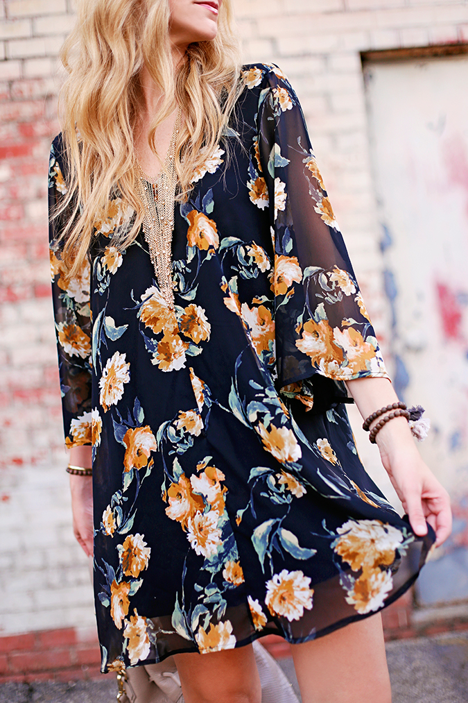 floral shift dress for fall