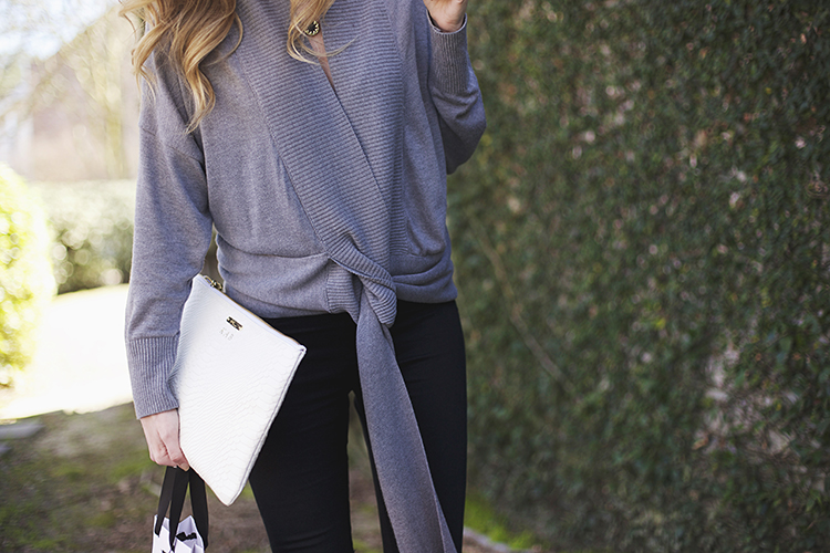 gray wrap sweater
