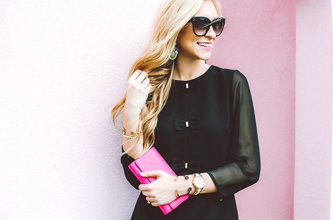 black bow dress with sheer sleeves