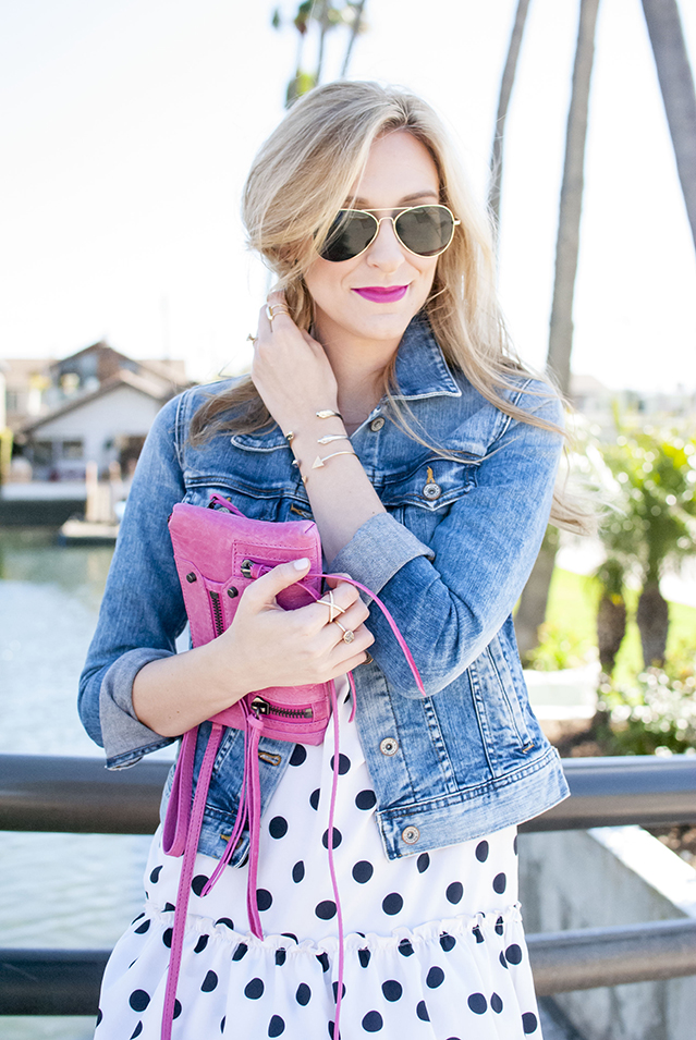 pink purse and bright pink lip