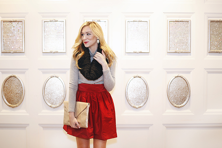 how to wear a red party skirt