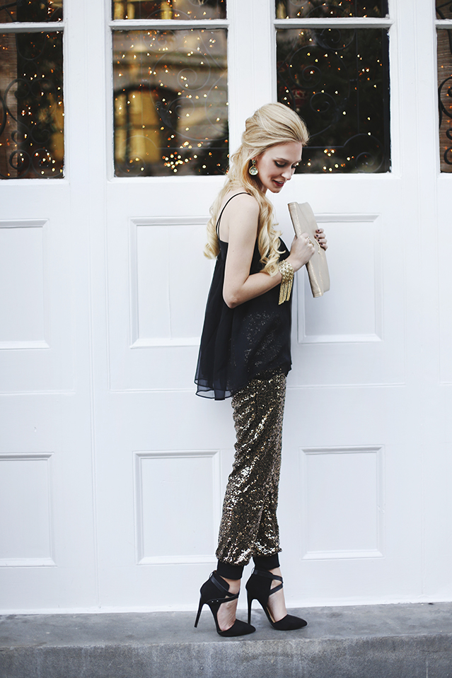 sequin pants and sheer top
