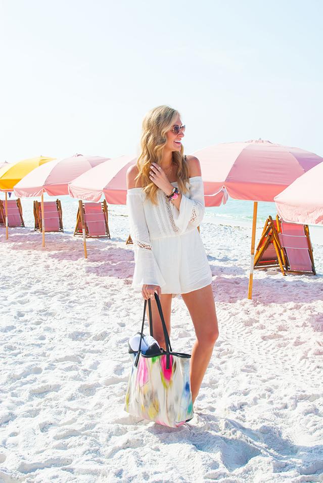 colorful watercolor beach bag