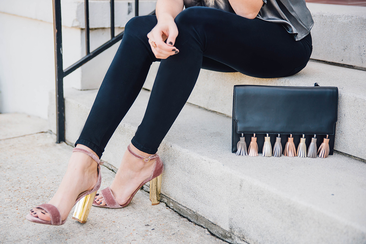 velvet party heels and metallic tassel bag