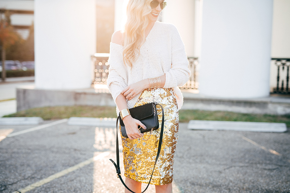 holiday party sequin skirt