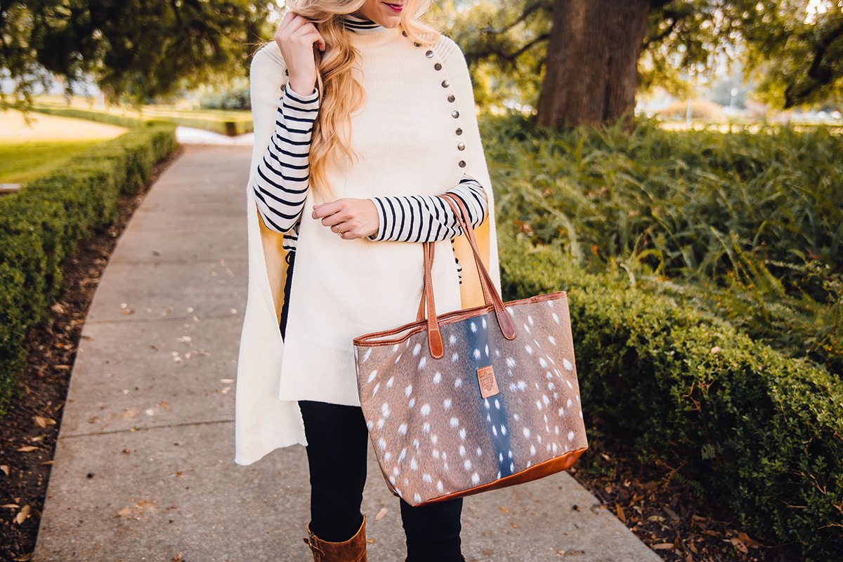 ivory cape with striped top