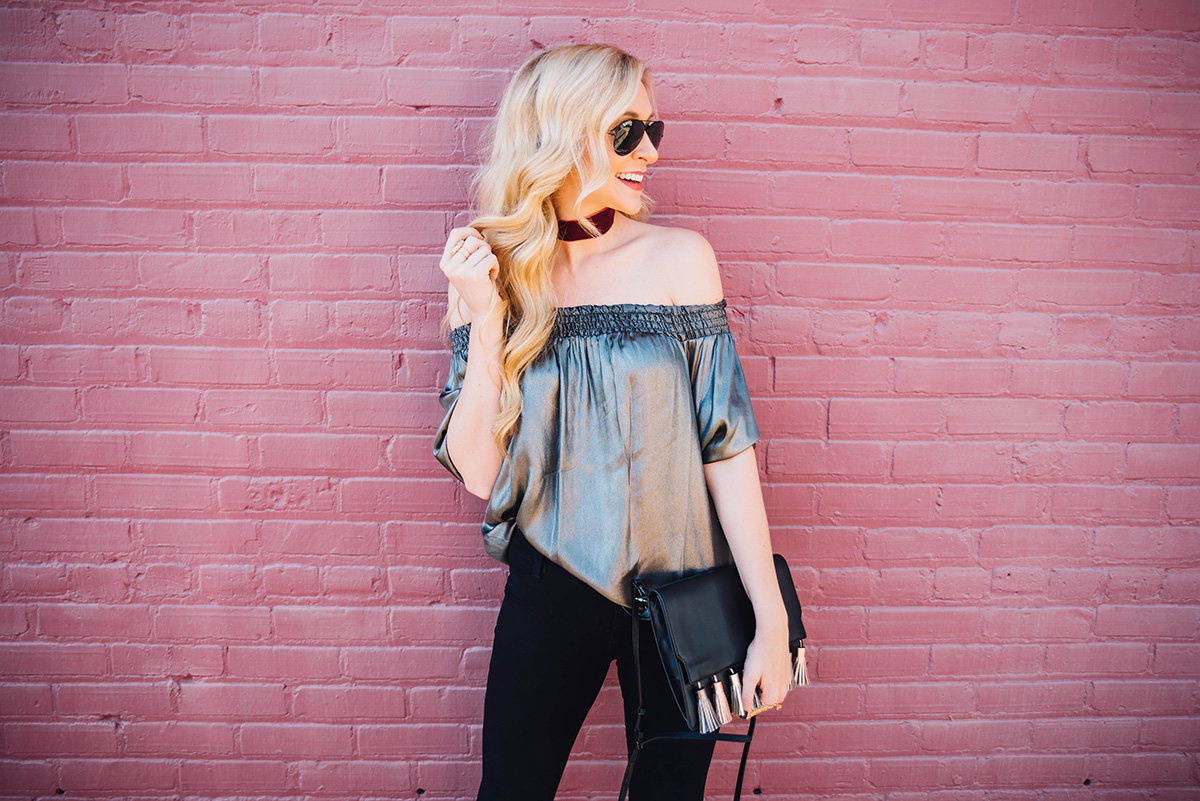 silver off the shoulder top