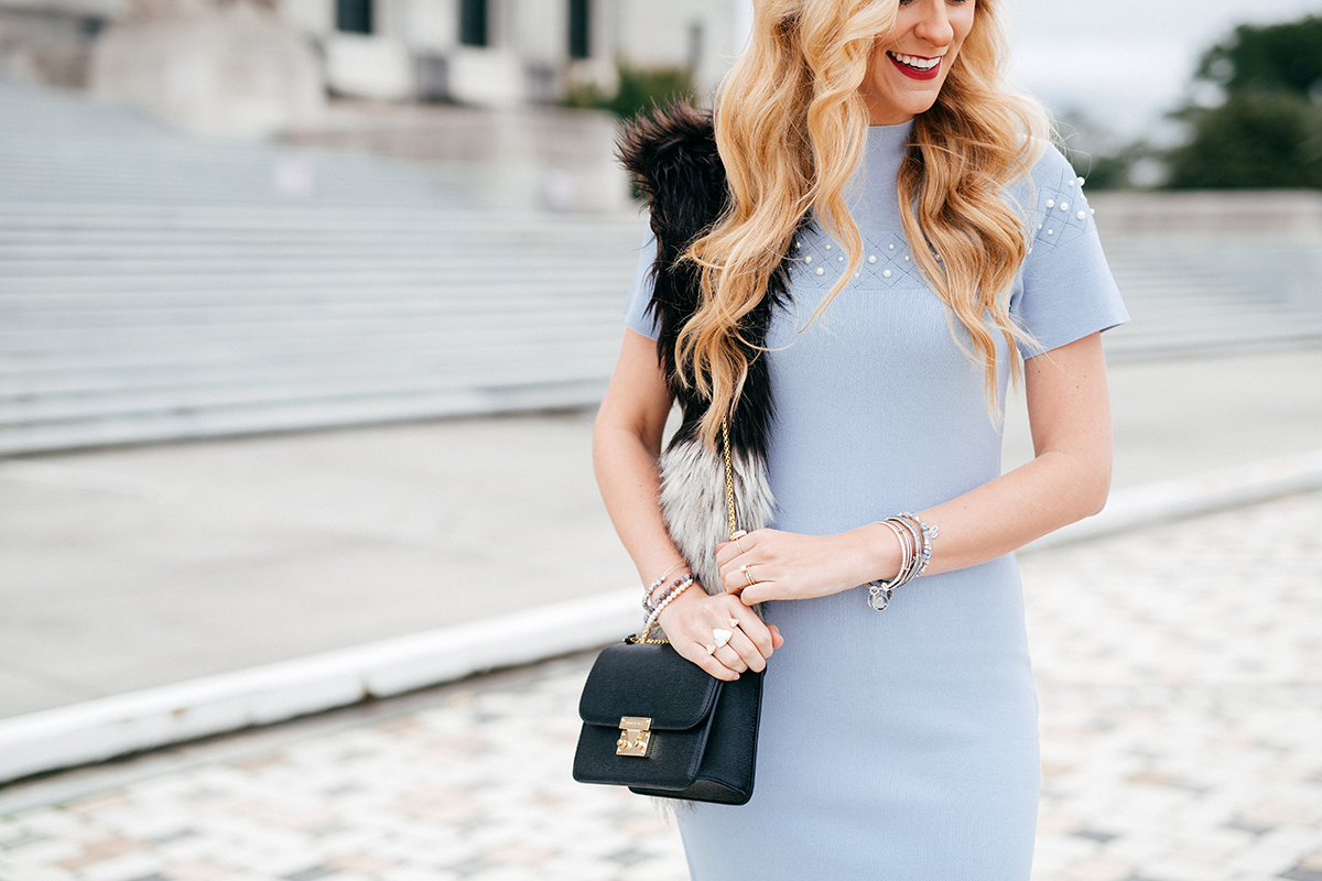 Holiday Dress Under $100 | NY and Company Eva Mendes Holiday Collection / baby blue midi dress with pearl details