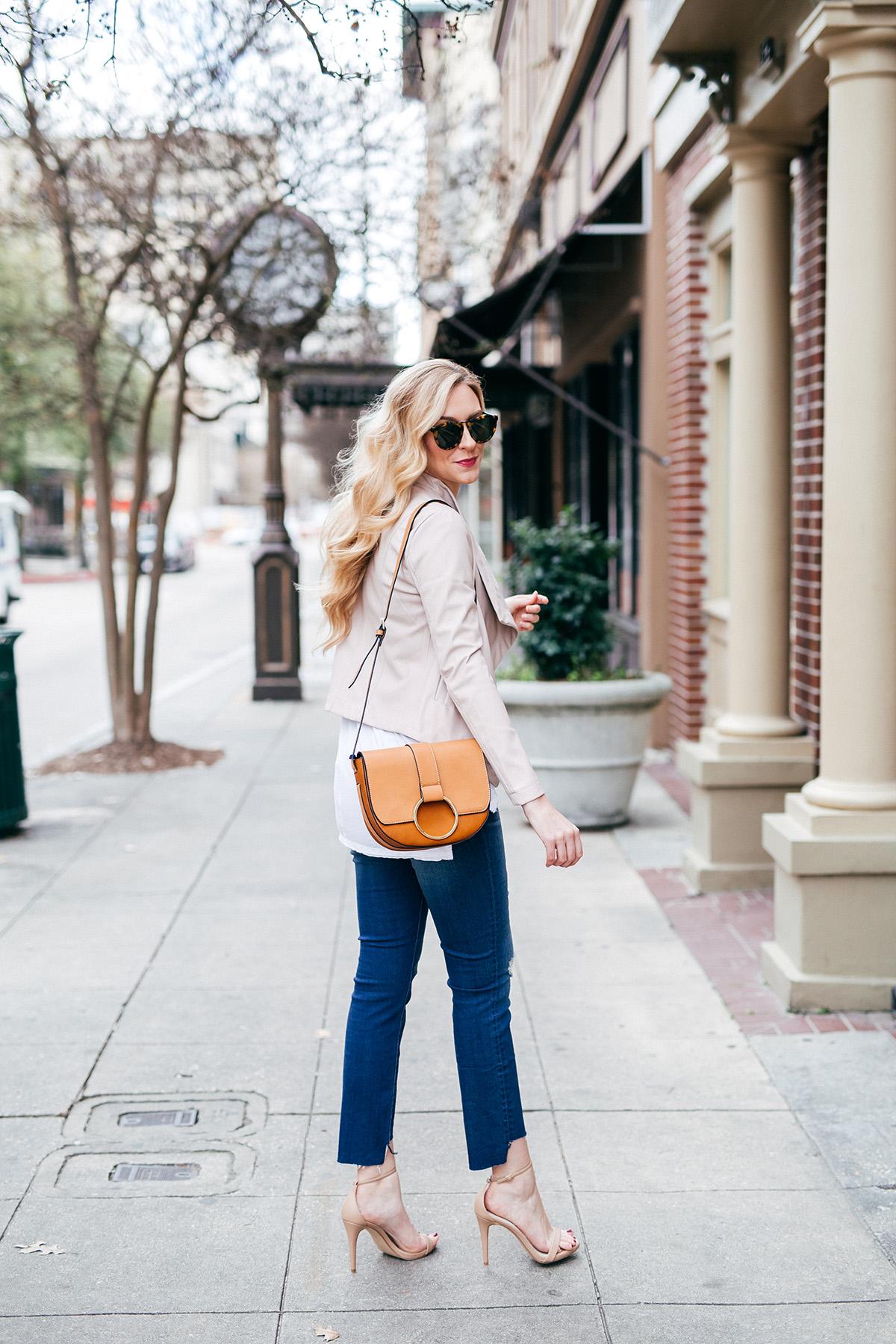 How To Wear Blush   18 Blush Wardrobe Pieces To Wear Now   DIY Raw Hem Denim