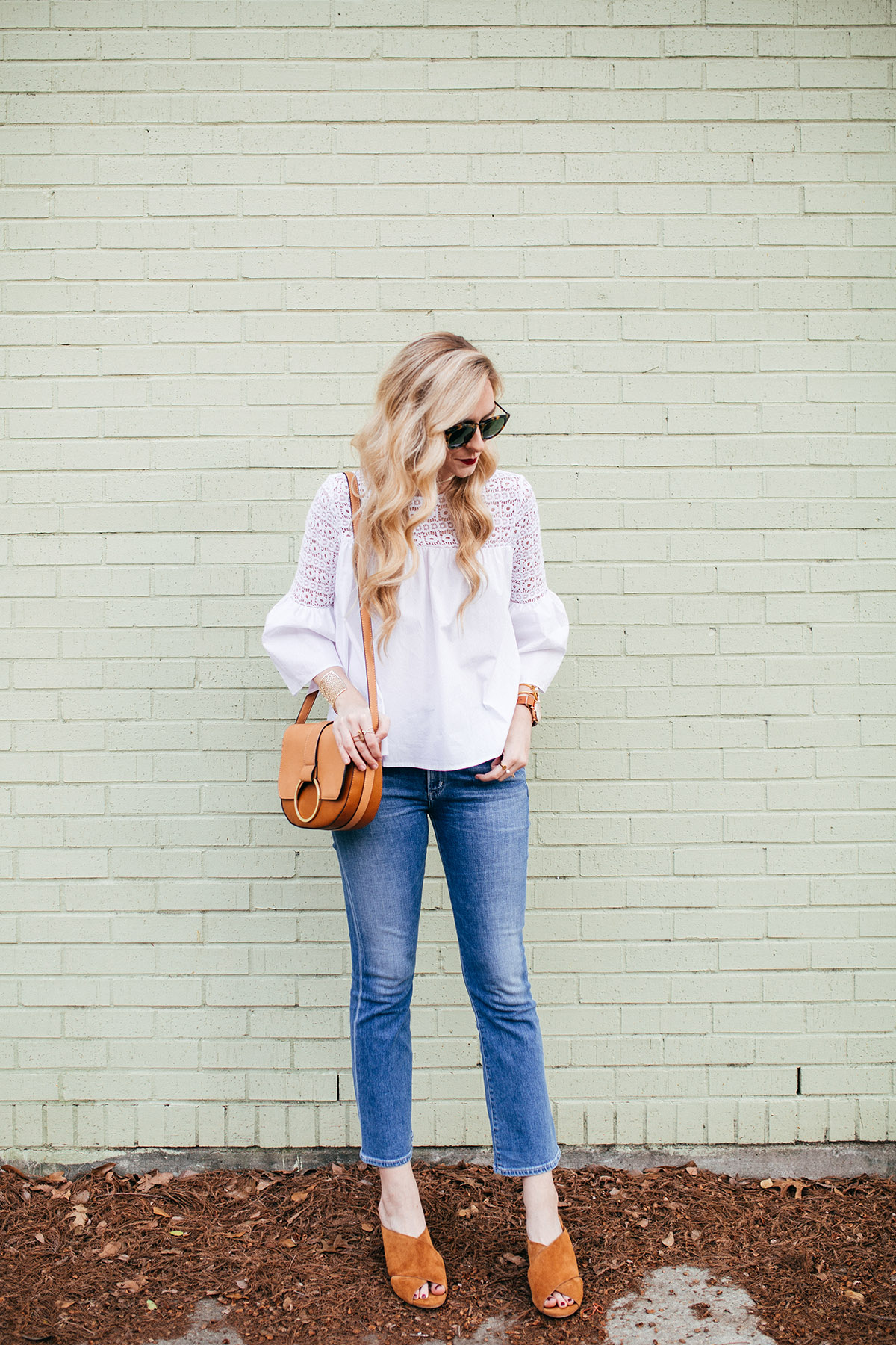 Crisp White Bell Sleeve Top | A Round Up of the BEST White Wardrobe Staples | Camel Crossbody + Camel Mules | Cropped Flare Jeans