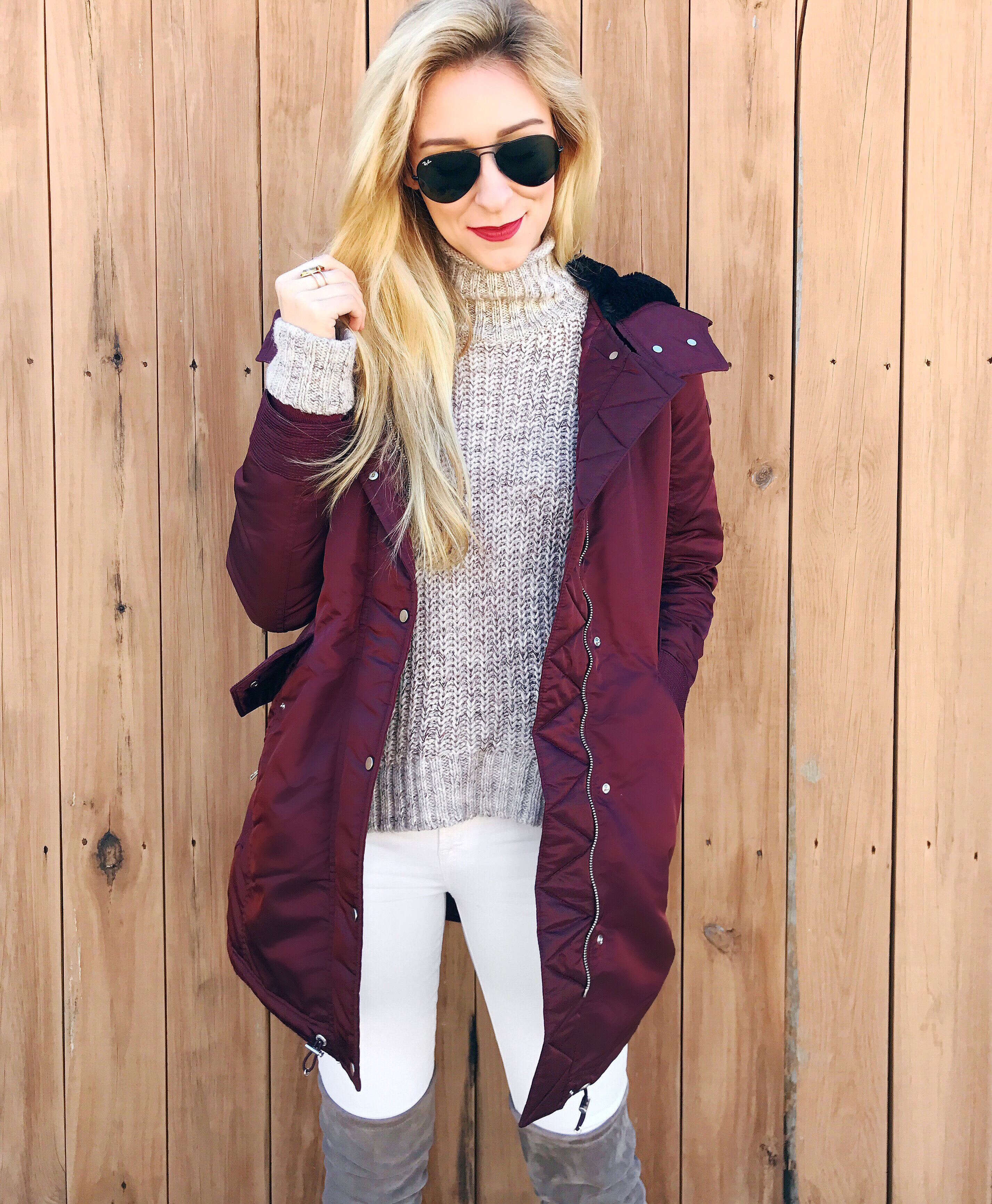 puffer jacket + white jeans + otk boots | winter outfit idea