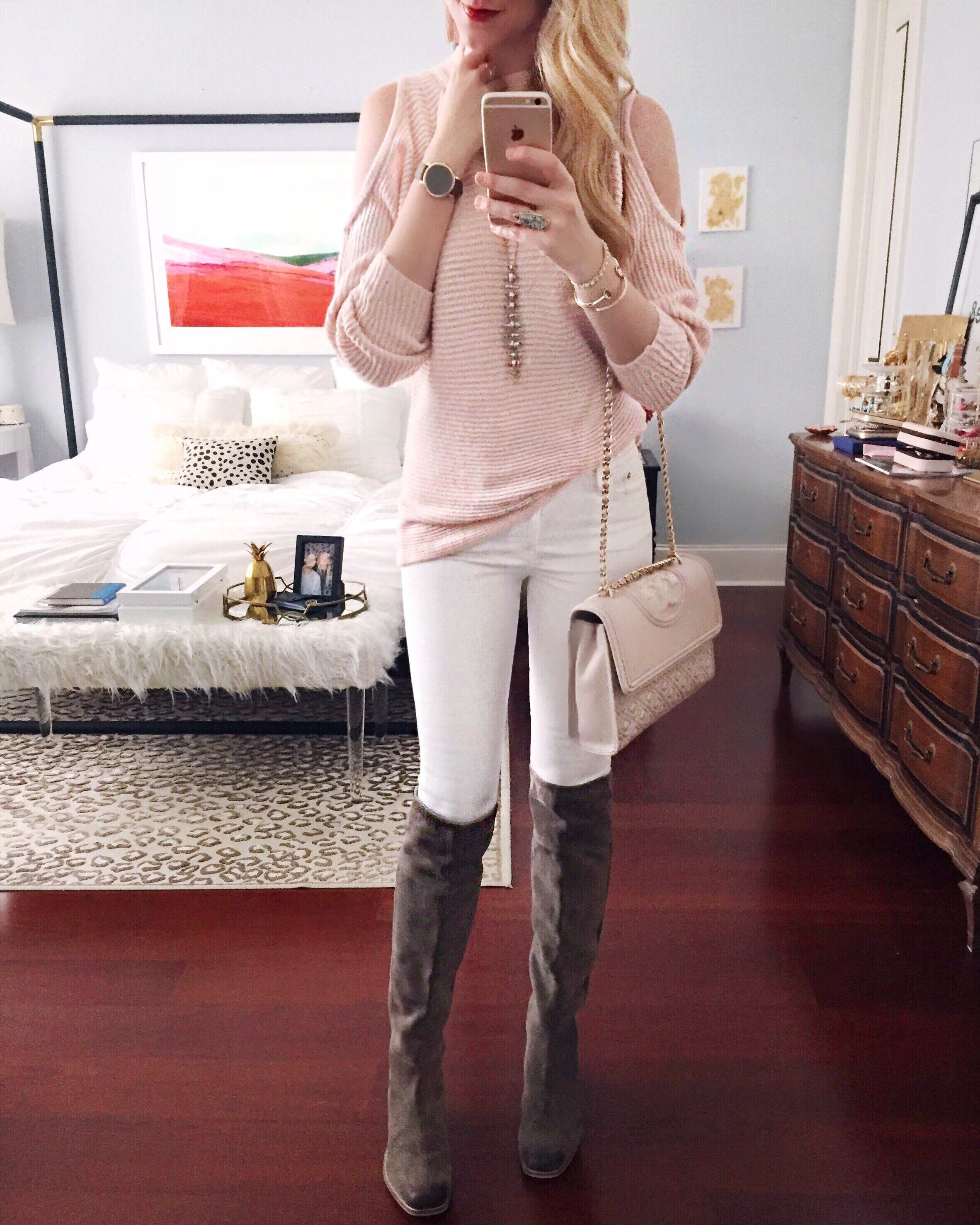 blush open shoulder sweater + white denim + otk boots | easy outfit idea