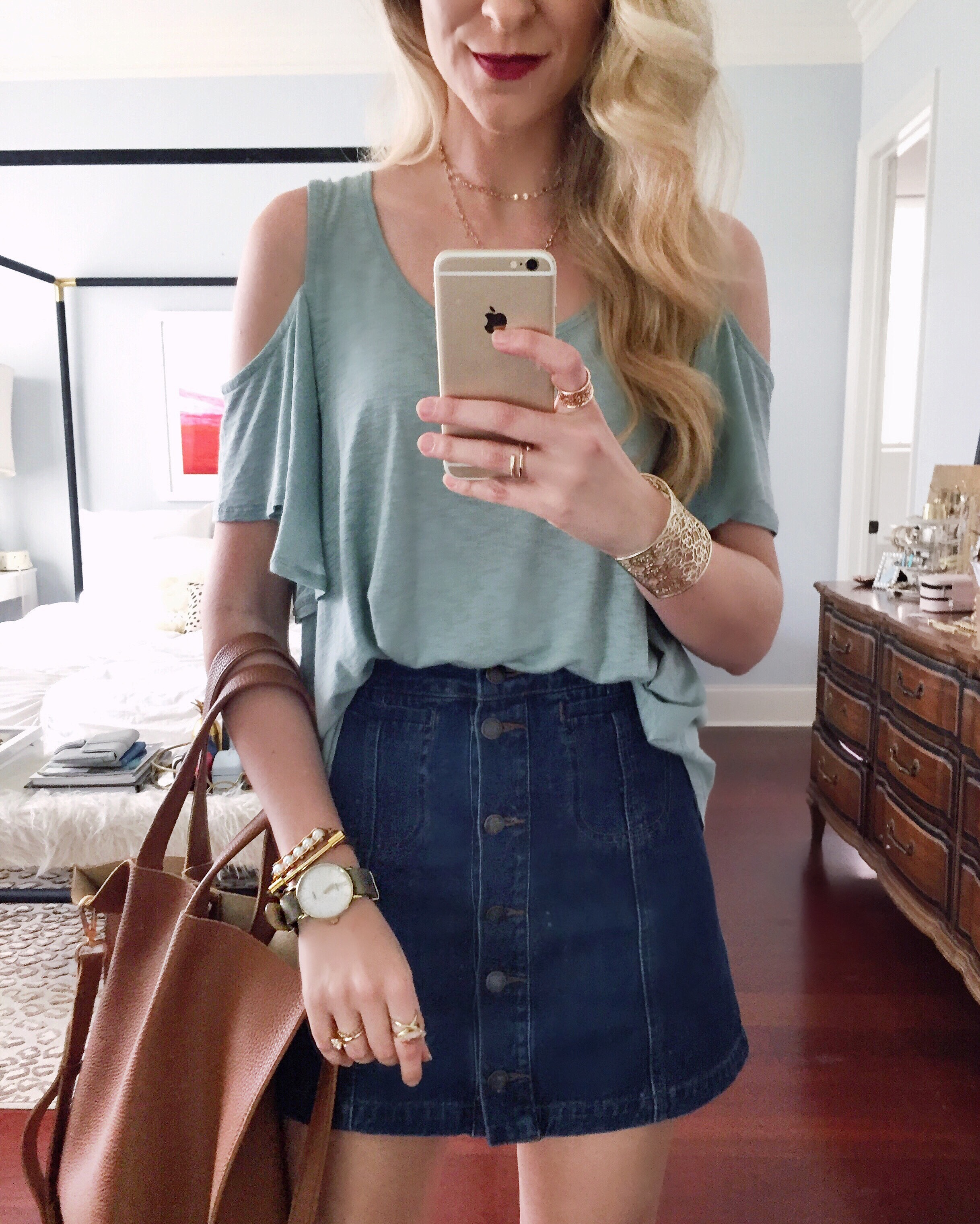 Teal Cold Shoulder Top | Spring Outfit Ideas