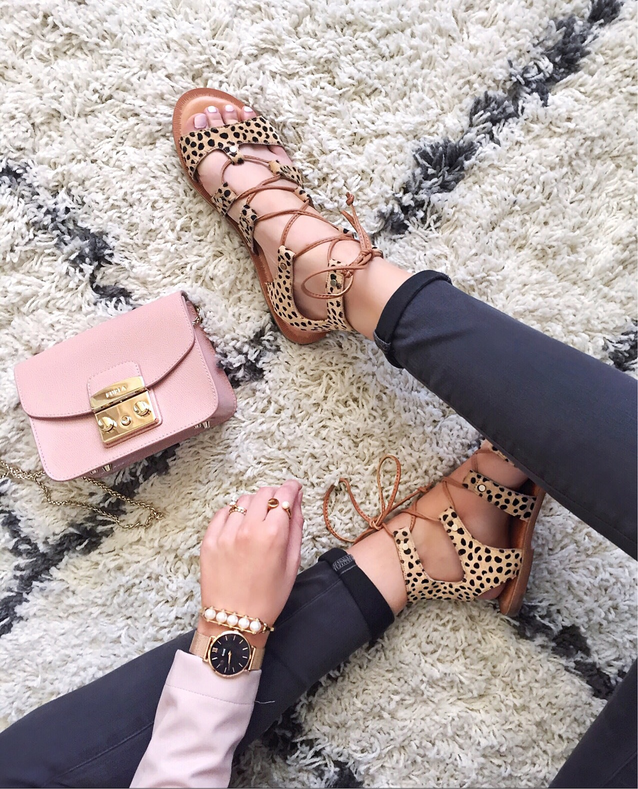 Animal Print Lace-Up Sandals | Spring Shoes