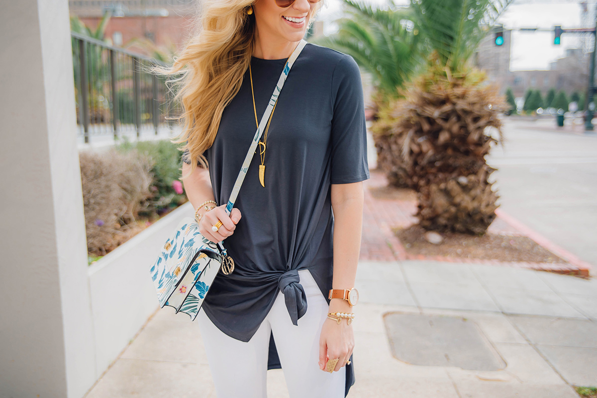 Spring Outfit Idea | Knotted Tunic Tee | Eileen Fisher Spring