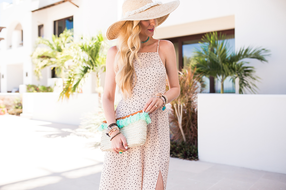Express x Karlie Kloss | polka dot maxi dress | blush maxi dress | vacation outfit idea