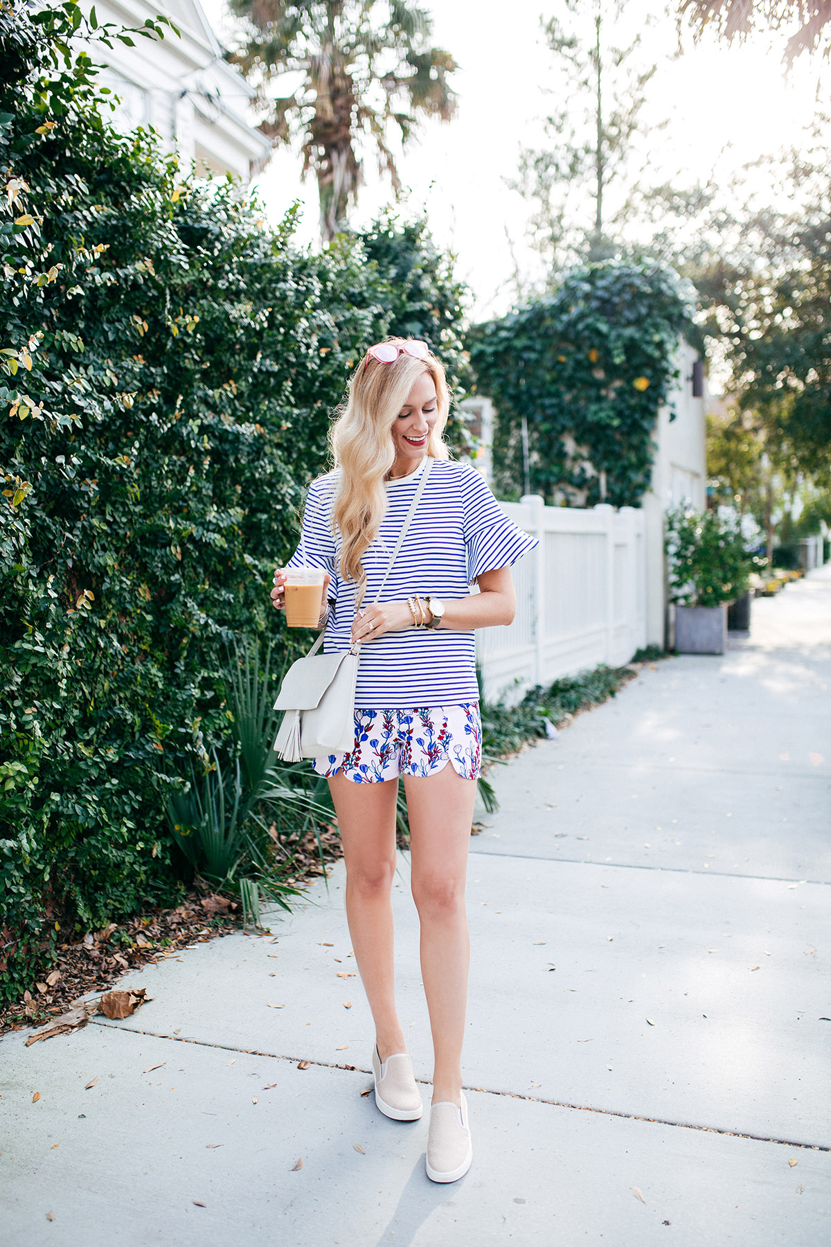 How to Mix Stripes and Floral Print for Spring | Spring Outfit Ideas | apinchoflovely.com