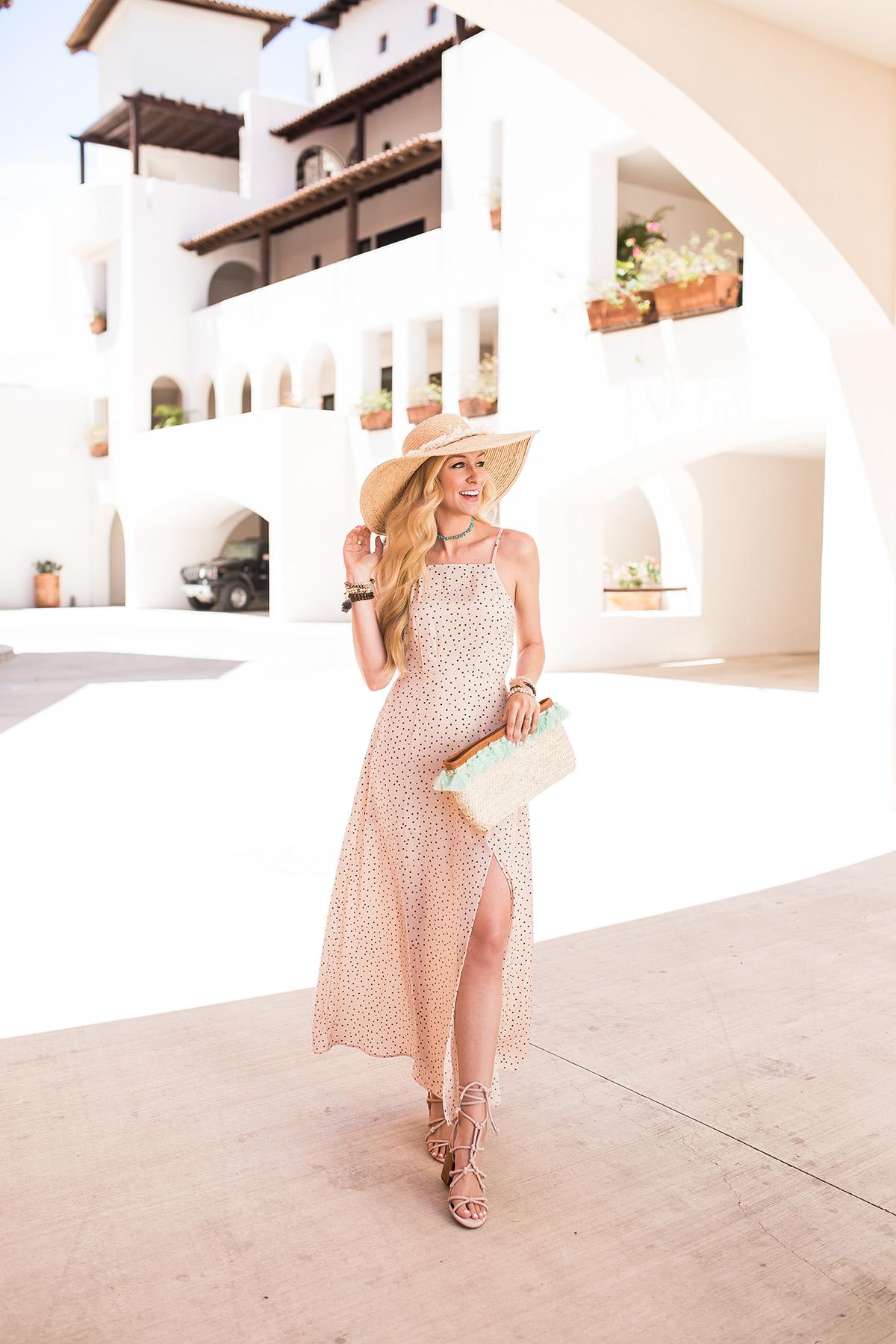 Express x Karlie Kloss | polka dot maxi dress | blush maxi dress | vacation outfit idea