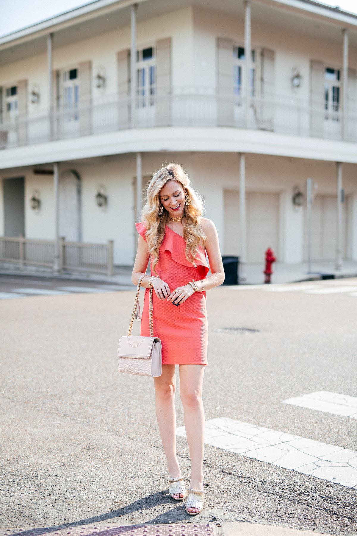Easter Dress Options For All Budgets   Coral One-Shoulder Dress