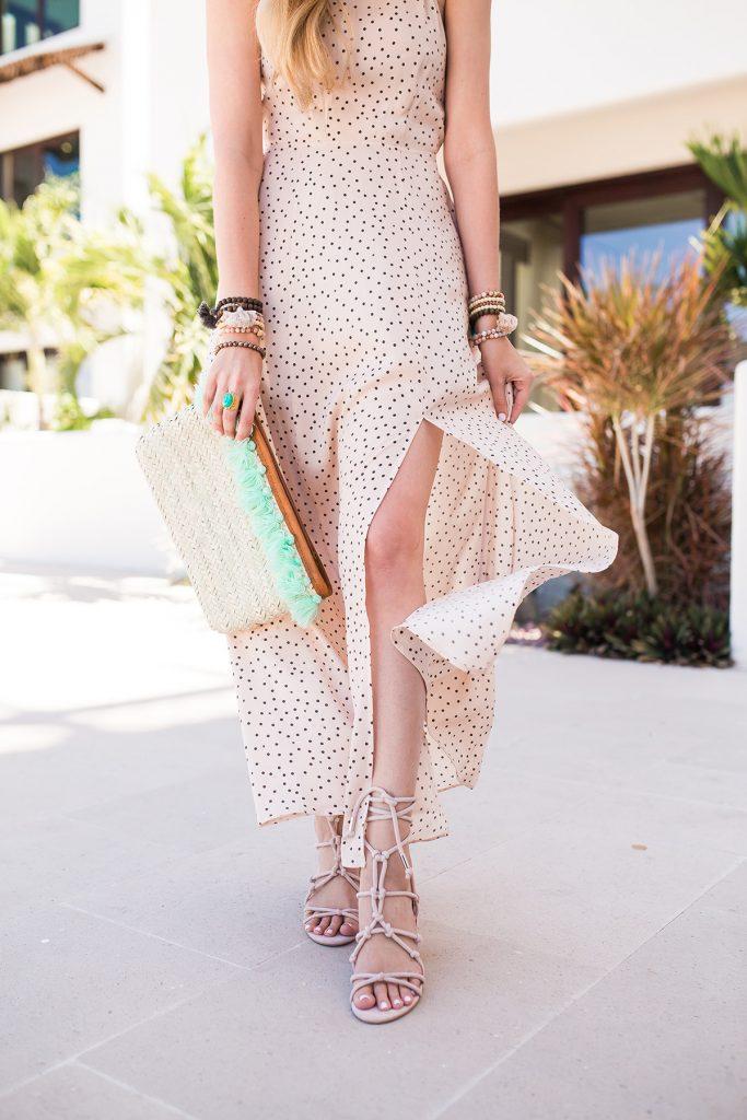 Express x Karlie Kloss | polka dot maxi dress | blush maxi dress | vacation outfit idea | Rebecca Minkoff lace-up heels