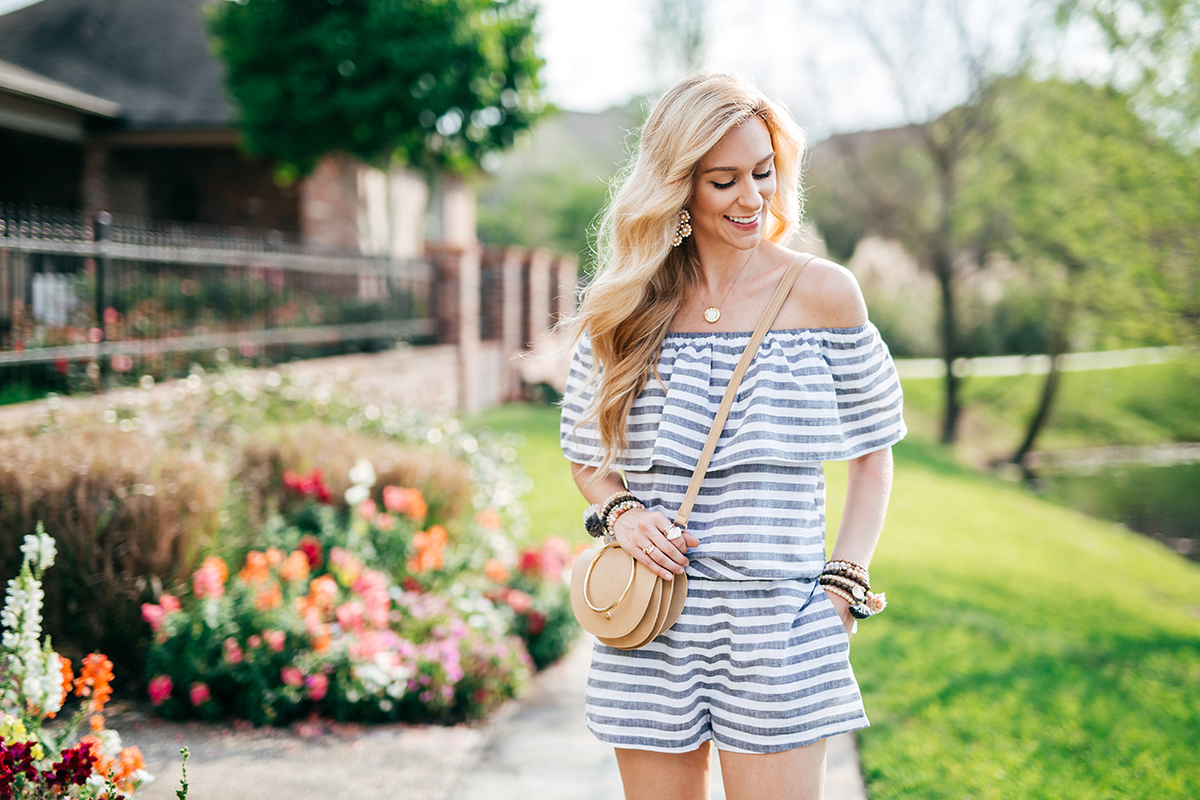 Striped Off The Shoulder Romper | Spring To-Do List | Spring Outfit Ideas