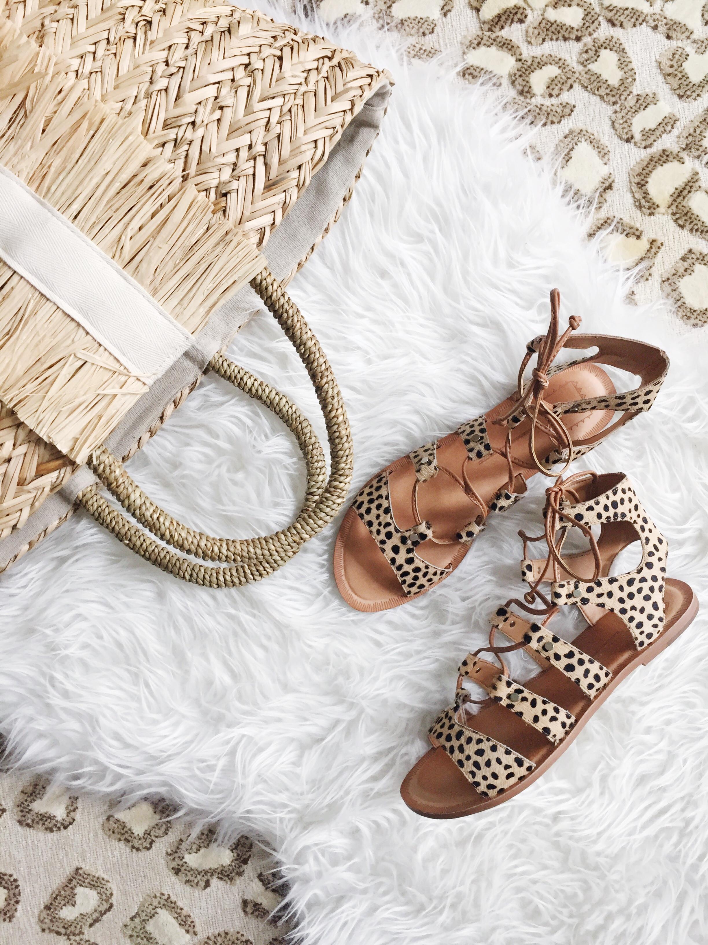 Lace-Up Leopard Sandals