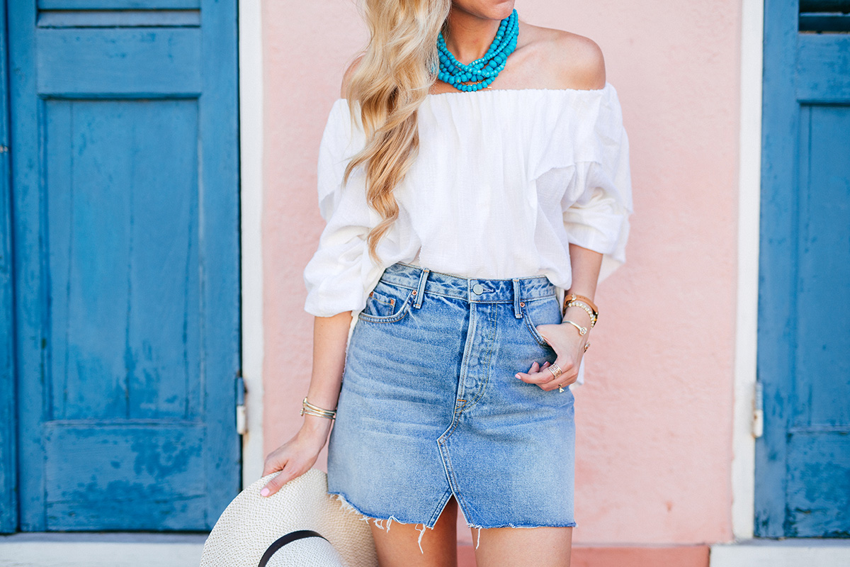Festival Inspired Outfits | High Waisted Denim Skirt + White Off the Shoulder Top