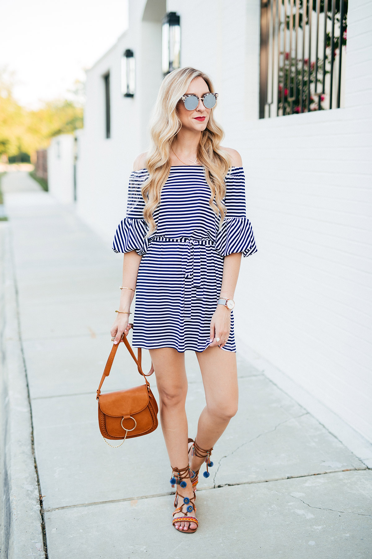 Striped Dress + Pom Sandals | Spring and Summer Outfit Ideas
